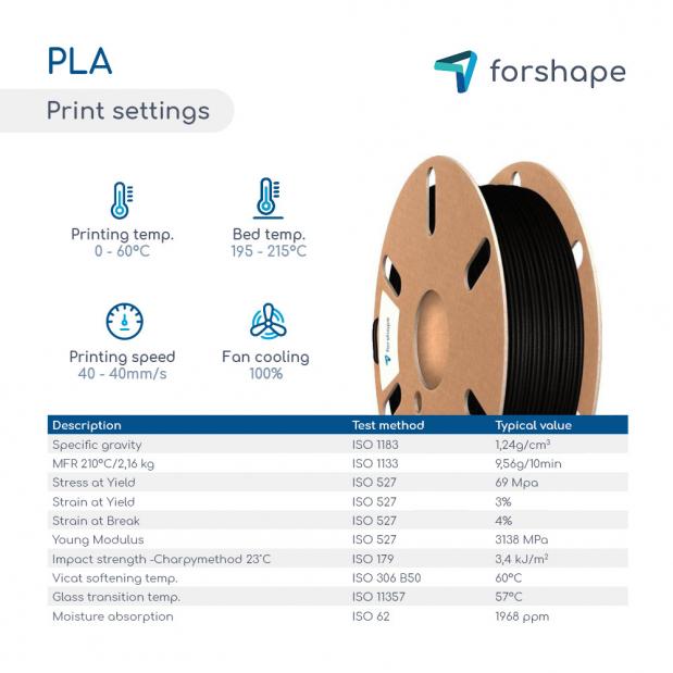 Pack PLA Noir X 3 bobines Forshape - 1.75mm - 750g